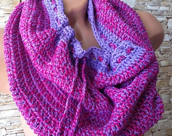 Crochet infinity scarf/ Crocheted scarf/ Infinity purple pink scarf/ Crochet scarf/ Bohemia scarf/ Crochet Loop scarf/ Neck scarf Cozy scarf