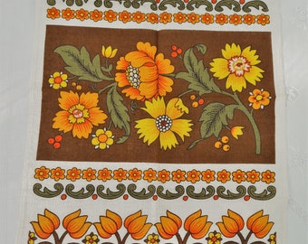 Vintage 70's Old Bleach Irish Linen Tea Towel Orange & Yellow Flowers -  Unused