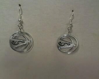 Smaller discrete laser cut mirrored acrylic swinger lifestyle earrings