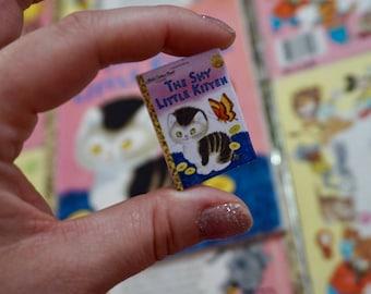 Shy Little Kitten - (pink) LITTLE GOLDEN BOOK - Brooch, Disneybound, Miniature, Flare