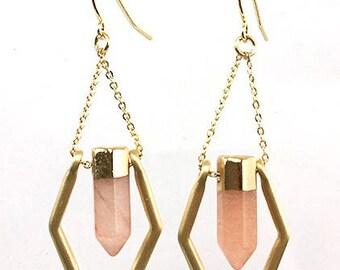Gold in quartz earrings