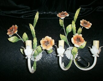 TWO Vintage ToleWare Wall Lights, French, Metal Flowers Chateau chic Painted