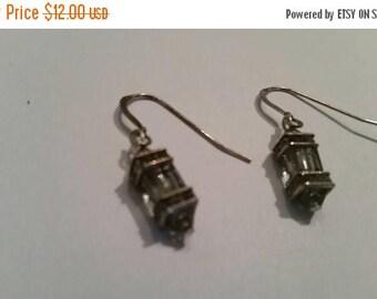 SALE Sterling Silver Earrings Smokey Crystal Scroll Dangle 925 Jewelry