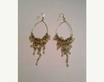 SALE Cream Chandelier Dangle Drop Bead Earrings Costume Jewelry