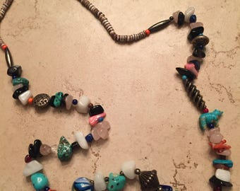 Vintage Multi-colored Stone Glass Turquoise Heishi Beaded Southwestern Necklace
