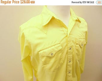 20% OFF Vintage Men's Yellow Western Shirt, Rockmount Ranch Wear, Pearl Snap Buttons, Size 16.5 - 35