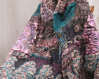 WINTER PAISLEY SHAWL Scarf wrap, unique, artsy 'handmade, ready  to  ship