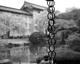 A rain chain in the Tokyo National Museum Garden, Tokyo, Japan