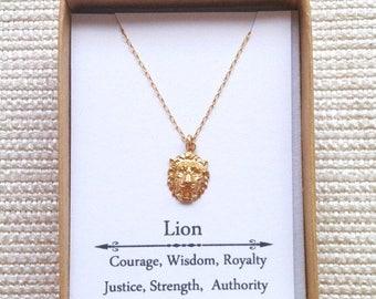 Vacation-Sale- Gold Lion Head Necklaceg, Goldfillled necklace, Gold Lion Necklace, Strength Necklace, Courage Jewelry,  Leo Necklace, Zodiac
