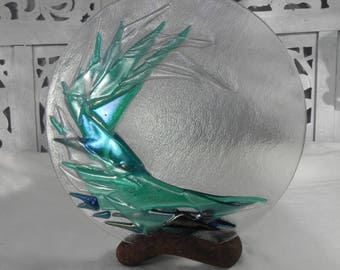 Wabi Sabi Abstract Glass Wave Sculpture