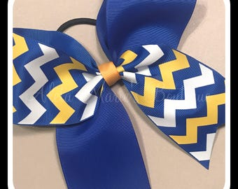 "2 1/4"" Royal blue yellow and white chevron cheer bow ~ softball bow ~ volleyball bow"