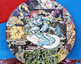 Superhero Collage Art on Vinyl Record - Vintage Repurposed Art - Comic Book Geek Art - Geek Gift - Vinyl Art - Comic Book Art Christmas Gift
