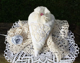 Pearl Heart Shabby Chic hand embroidered