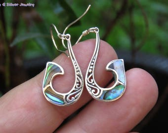 Sterling Silver Tribal Maori Design Paua Shell Earrings ER-873-DG