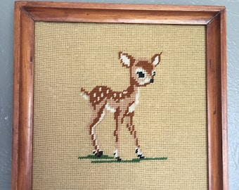 "Cute Retro Deer Needlepoint Art Work 11.5"" X 11.5"" Handmade Bambi Doe Fawn Wooden Frame"