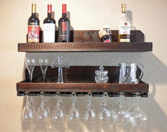 rustic wood wine rack shelf hanging stemware glass holder. Black Bedroom Furniture Sets. Home Design Ideas