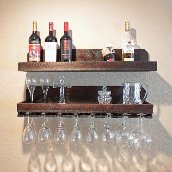 32 wall wine rack glass holder with shelf wood. Black Bedroom Furniture Sets. Home Design Ideas