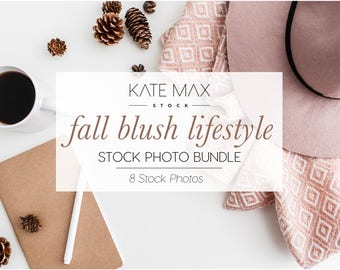 Fall Blush Lifestyle Styled Stock Photo Bundle  / Styled Stock Photos / 8 KateMaxStock Branding Images for Your Business