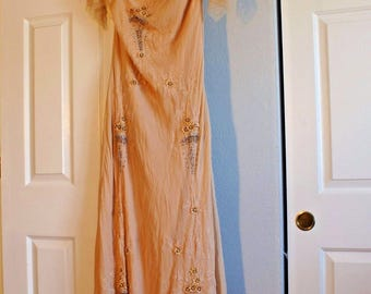 Vintage style JIANINI handmade beaded 100% silk formal evening gown long dress