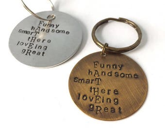 Dad definition keychain in heavy gauge aluminum or bronze