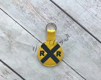Railroad Key Fob Train Key Fob DIGITAL EMBROIDERY FILE