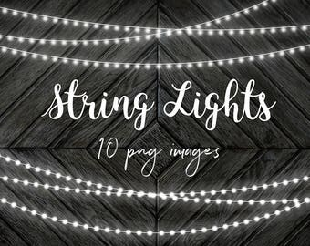 White String Lights Clip Art, Fairy Lights Overlays, Party Lights, PNG Photoshop Overlays, Perfect For Cards & Invitations, BUY7FOR10