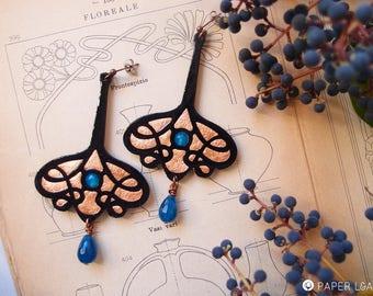dangle stud earrings COPPER LACE LONG, Art Nouveau style paper earrings, lightweight earrings, black and copper paper cut dangle