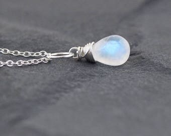 Rainbow Moonstone Pendant in Sterling Silver, Gold or Rose Gold Filled. Wire Wrapped Necklace. Gemstone Bead Necklace. Flashy Blue Moonstone
