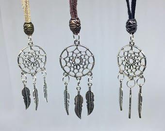 Dreamcatcher Necklace, Boho Necklace, Silver Dreamcatcher, Leather Dreamcatcher, Black Dreamcatcher Necklace, Brown Dreamcatcher, Boho