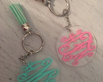 Monogrammed keychains with tassels!