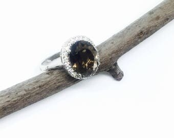 Smokey topaz, white topaz ring Sterling silver 925. Size-7. Natural authentic gemstones.