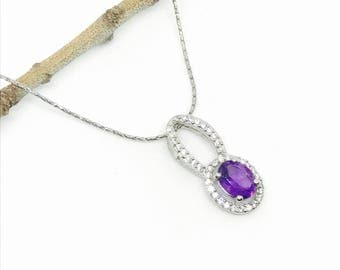 Amethyst and white zircon pendant necklaces set in sterling silver 925. Genuine authentic stones.