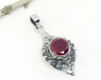 Ruby pendant,necklaces in sterling silver 925. Genuine natural ruby stone. Simple elegant style. July birthstone. Length-1.60 inch.