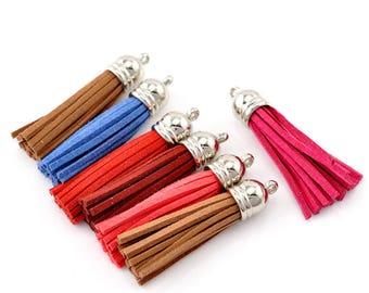 Brown: Set of 2 tassels tassels Decoration 6x1.2cm pendants