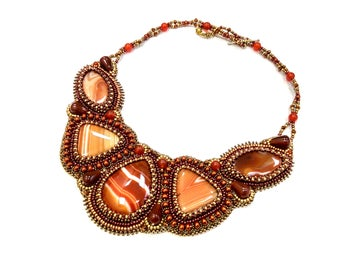 Bib orange necklace Chunky bib necklace for women Beaded embroidery statement necklace Bead embroidered jewelry Wife gift statement