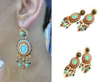 Bead embroidered chandelier boho earrings with turquoise goldstone Bohemian dangle blue brown earrings Colorful jewelry gift for women