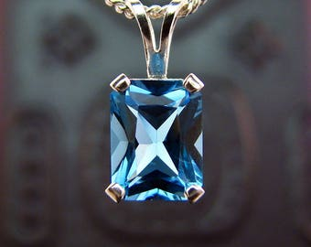 Topaz pendant, swiss blue topaz pendant, silver pendant 8x6 mm, topaz necklace, sterling silver pendent 925 blue