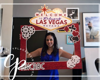 Vegas photo booth frame | Viva Las Vegas photo booth prop | Bachelorette photo prop | Selfie frame | Printed