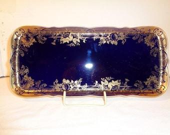 Lindner Kobaltblaue Königskuchenplatte 35 x 16cm, Cobalt blue royal cake plate 35 x 16cm