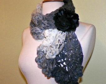 On Sale- Gray Scarf Scarf Black Winter White Freeform Crochet Irish Rose Flowers Leaves Mohair