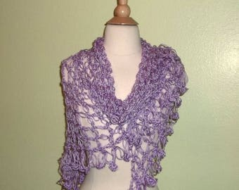 On Sale- Crochet Shawl Triangle Purple Lavender Lace Bridal Wedding Wrap Scarf Boho Summer Wrap