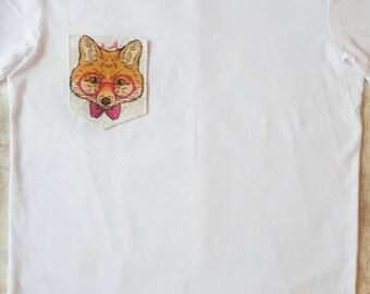 Fox, tshirt pocket, womens tshirt, mens tshirt, custom shirt, funny shirt, funny tshirt, gift for her, gift for him, ladies tee, pink, tee