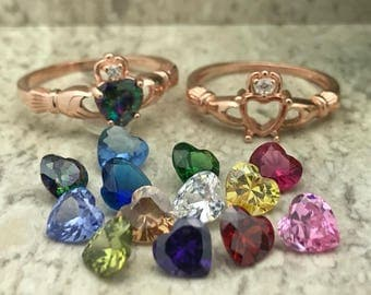 Rainbow Topaz CZ Claddagh Ring, Rose Gold Plated Sterling Silver Irish Claddagh Ring, Engagement Ring, Love Loyalty & Friendship Ring
