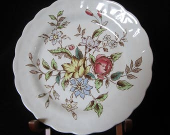 BOOTH English China Salad-Plate Flowerpiece Pattern A8064 - floral plate has scalloped rim with recessed pattern below. Vintage Collectible!