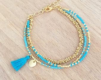 Bracelet Turquoise multi rangs perles miyuki doré à l'or fin