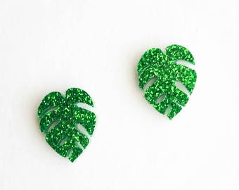 HYPOALLERGENIC Laser Cut Earrings LARGE  (Surgical Stainless Steel) - Monstera Leaf - Green, gardening gift