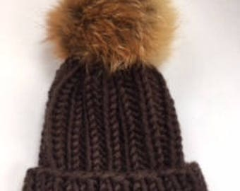 "Bulky Brown Beanie w/ Raccoon Pom | Fur Embellished Hat | Wool-Blend Beanie w/ ""Copper"" Pom 