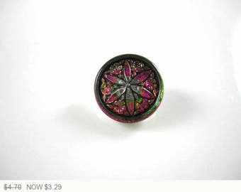 ON SALE Pink Green Vitrail Flower Star Czech Buttons Pink Flower Czech Glass Buttons Green Button Vitrail Star Buttons 18mm (1 pc) 52BV3
