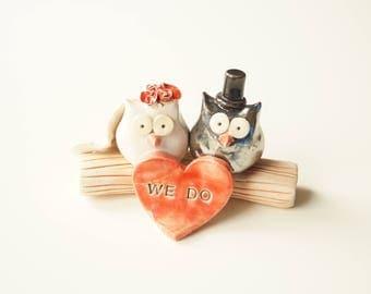Wedding Cake Topper, Owl Cake Topper, Ceramic Cake Topper, Rustic Cake Topper