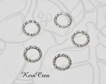 20 x 8mm silver plated twisted ring connectors